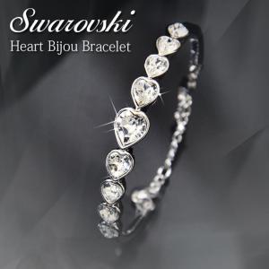 スワロフスキー ブレスレット ハート クリスタル バングル シルバー チェーン キラキラ プレゼント 結婚式 xm|swasuwa