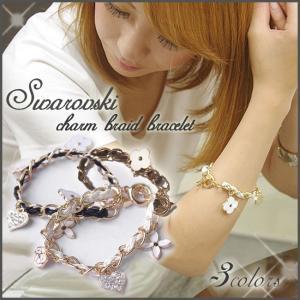 スワロフスキー ブレスレット 編み 革 カメリア モノグラム チャーム 花柄  xm|swasuwa