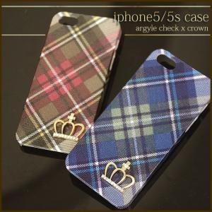 ポスト便 送料無料 1000円ポッキリ SALE iphone5 5s SE ケース カバー アーガイルチェック柄 クラウン 王冠 キラキラ デコ  プレゼント|swasuwa