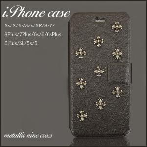 iPhoneXs MAX XR 8 6s 7 plus 5s SE ケース カバー 手帳型 レザー タイプ クロム クロス スタッズ ブラック メタリック ブランド ポスト便200円対応 fl|swasuwa