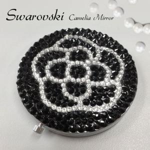 スワロフスキー コンパクトミラー デコ カメリア 花 鏡 花柄 プレゼント キラキラ ブラック フラワー   xm|swasuwa