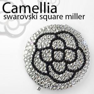 ミラー スワロフスキー カメリア 花 花柄 コンパクトミラー デコ プレゼント クリスタル キラキラ フラワー xm|swasuwa
