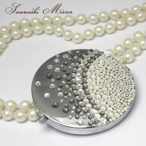 スワロフスキー コンパクトミラー デコ バブル パール 鏡 プレゼント xm|swasuwa