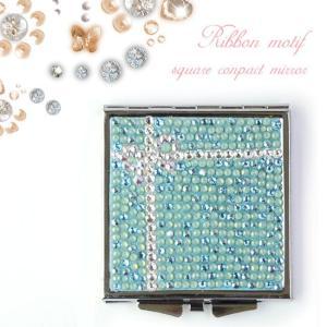 ミラー スワロフスキー デコ リボン イニシャル プレゼント 手鏡 ブルー キラキラ ギフト  xm|swasuwa