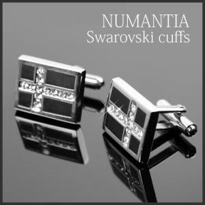 カフス ボタン スワロフスキー プレゼント 結婚式 ラインストーン スクエア クロス ブラック NUMANTIA ブランド シルバー 十字架 ポスト便200円選択OK xm|swasuwa