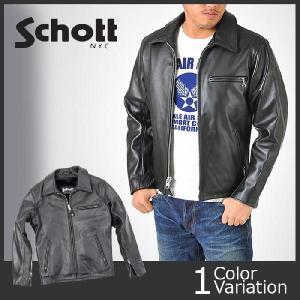 ライダースジャケット 革ジャン Schott(ショット) ライダース  643 シングルライダースジャケット 襟付き ブラック swat