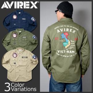 AVIREX(アビレックス) L/S VIETNAM SOUVENIR SHIRT ロングスリーブ ベトナム スーベニア シャツ 6165135|swat