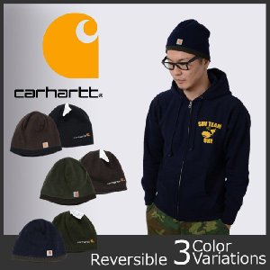 Carhartt(カーハート) Reversible Logo Panel Beanie Hat (リバーシブル フリース キャップ) #A297【レターパック360対応】|swat