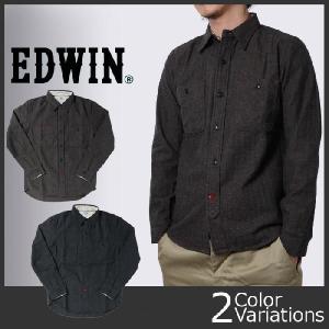 EDWIN(エドウィン) ヘリンボーンツイル長袖ワークシャツ 45318 swat