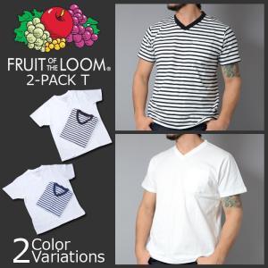 FRUIT OF THE LOOM(フルーツオブザルーム) V NECK SHORT T SLEEVE ブイネック 半袖 ポケット Tシャツ 2枚組み|swat