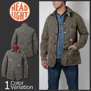 HEAD LIGHT(ヘッドライト) 11oz. BROWN HICKORY WORK COAT (11オンス ブラウン ヒッコリー ワーク コート) HD13017A|swat