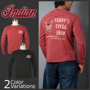 """indian ロングスリーブTシャツ """"TERRY'S CYCLE SHOP""""IM66820