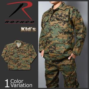 ROTHCO(ロスコ) キッズ ミリタリーBDUシャツ ウッドランドデジタルカモ 66215|swat