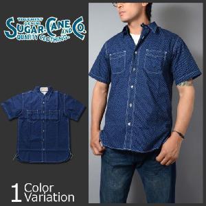 SUGAR CANE & Co.(シュガーケーン) FICTION ROMANCE 4.5oz ポルカドット 半袖 S/S ワークシャツ SC36670 swat