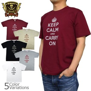 SWAT ORIGINAL(スワットオリジナル) メンズ Tシャツ 半袖 【ミリタリー】 「KEEP CALM and CARRY ON」プリントTシャツ 6.2oz|swat