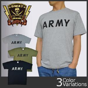SWAT ORIGINAL(スワットオリジナル) ミリタリー メンズ 半袖Tシャツ 「ARMY」ロゴプリントTシャツ|swat