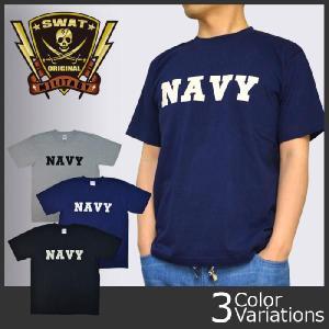 SWAT ORIGINAL(スワットオリジナル) ミリタリー メンズ 半袖Tシャツ 「NAVY」ロゴプリントTシャツ|swat