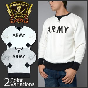 SWAT ORIGINAL(スワットオリジナル) ARMY ロゴ プリント 8.4オンス ファインフレンチテリー カラーコンビネーション クルーネック スウェット(パイル)5189 swat