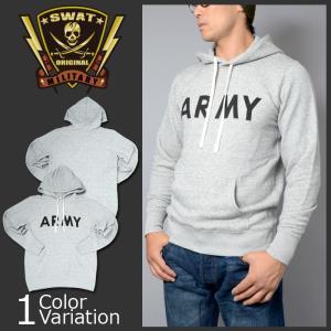 SWAT ORIGINAL(スワットオリジナル) ARMY ロゴ プリント 8.4オンス ファインフレンチテリー スウェット プルオーバー パーカ(パイル)5181|swat