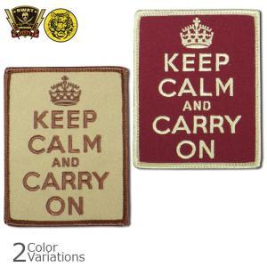 SWAT ORIGINAL(スワットオリジナル) ミリタリーワッペン 「KEEP CALM and CARRY ON」 刺繍パッチ (KHAKI/BURGUNDY) ネコポス対応|swat