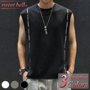 タンクトップ メンズ ノースリーブ Tシャツ カットソー 袖なし 大きいサイズ おしゃれ 綿 夏 Vネック クルーネック アメカジ ボーダー ロゴT プリント sweet-bell