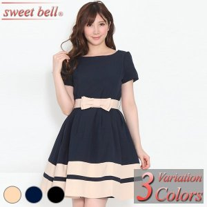 パーティードレス 結婚式 ワンピース 膝丈 大きいサイズ 40代 30代 20代 半袖 袖付き 袖あり パーティー ドレス ミニ フォーマル お呼ばれ|sweet-bell