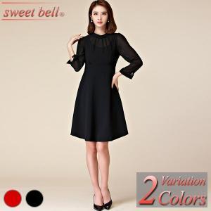 パーティードレス 結婚式 ワンピース 膝丈 大きいサイズ 40代 30代 20代 長袖 袖付き 袖あり パーティー ドレス ミニ フォーマル お呼ばれ|sweet-bell