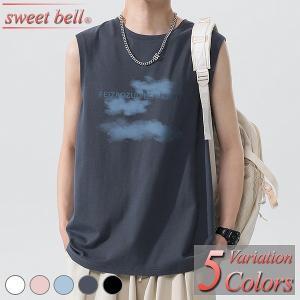 タンクトップ メンズ ノースリーブ Tシャツ カットソー 袖なし 大きいサイズ おしゃれ 綿 夏 Vネック クルーネック アメカジ ボーダー ロゴT プリント|sweet-bell