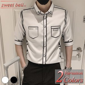 ドレスシャツ メンズ 半袖 五分袖 春 夏 秋 韓国 韓流 結婚式 上品 パーティー フォーマル ホスト おしゃれ 大きいサイズ 3L 4L 小さいサイズ XS SS|sweet-bell