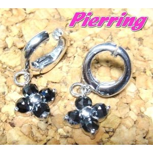 【在庫のみ特価】【耳が痛くないピアリング】揺れる四葉フラワーイヤリングK14WG計0.90ctUPブラックダイヤモンドイヤリング|sweet-p