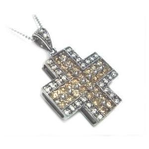【終了】【ジュエリーベストドレッサー】モデルクロス取り巻き計1.00ctブラウンダイヤ&ダイヤペンダントトップ|sweet-p