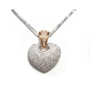 【予約】【マイクロセッティング】コンビダイヤハート計1.10ctダイヤモンドピンクゴールドネックレス|sweet-p