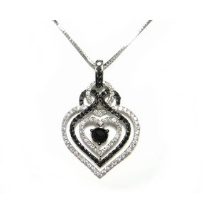 【予約】【ローズカット】豪華計1.43ctハートブラックダイヤモンドネックレス|sweet-p