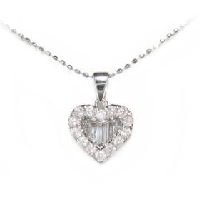 【予約】テーパーカットが素敵な♪取り巻きハート計0.50ctダイヤモンドネックレス|sweet-p