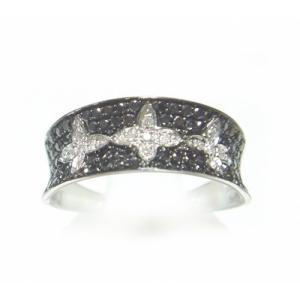 【予約】【マイクロセッティング】ひし形が輝く!計0.50ctダイヤ&ブラックダイヤリング sweet-p