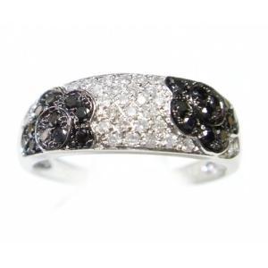 【予約】【マイクロセッティング】花模様パヴェ計0.50ctブラックダイヤモンドリング sweet-p