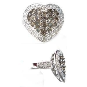 【終了】【ジュエリーベストドレッサー】モデルハート取り巻き計1.00ctブラウンダイヤモンドリング|sweet-p