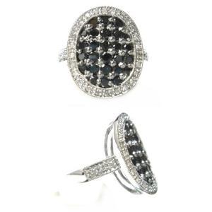 【予約】【ジュエリーベストドレッサー】モデルオーバル取り巻き計1.00ctブラックダイヤリング|sweet-p