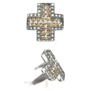 【ラスト1個】【ジュエリーベストドレッサー】モデルクロス取り巻き計1.00ctブラウンダイヤモンドリング|sweet-p