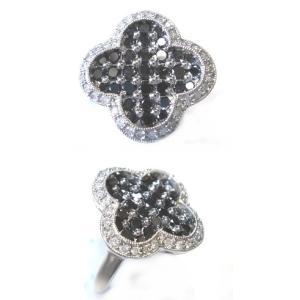 【予約】【ジュエリーベストドレッサー】モデルクローバー取り巻き計1.00ctブラックダイヤリング|sweet-p