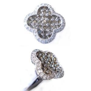 【終了】【ジュエリーベストドレッサー】モデルクローバー取り巻き計1.00ctブラウンダイヤモンドリング|sweet-p