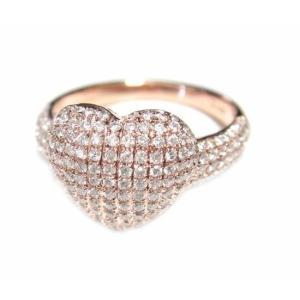 【予約】【マイクロセッティング】アームに注目ふんわりやわらかハートパヴェ計0.85ctダイヤモンドリング|sweet-p