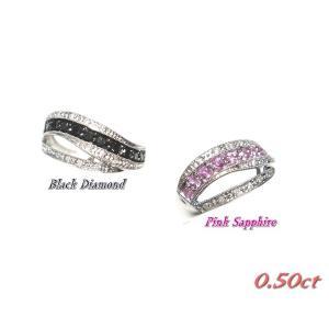【予約】ウェーブ計0.50ctブラックダイヤ&ダイヤリング【ピンクサファイア】|sweet-p