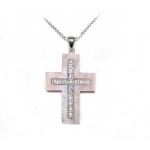【在庫特価】クロスピンクシェル十字架計0.12ctダイヤモンドネックレス|sweet-p