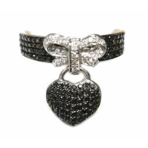 【ラスト1個】【マイクロセッティング】可愛いリボン&ハート計0.64ctブラックダイヤモンドリング sweet-p