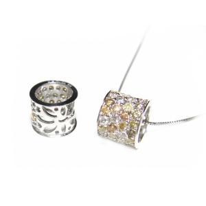 【限定】型抜きハーフエタニティーリング型!7.3mm幅色とりどりのファンシーパヴェ計0.50ctダイヤモンドネックレス|sweet-p