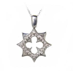【可愛いスイング】四葉のクローバーくりぬき計0.30ctダイヤモンドネックレス|sweet-p