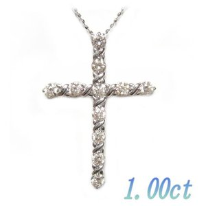 【限定】キラキラ存在感クロス11石計1.00ctファンシーダイヤモンドネックレス|sweet-p