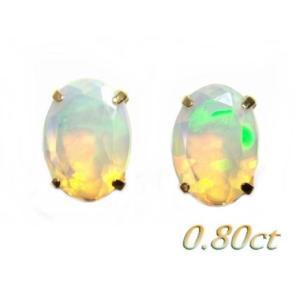 浮かぶ色合い珍しいオーバルカット!K18計0.80ctオパールピアス|sweet-p