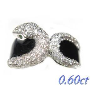 【予約】【スネーク】クールなブラックエナメル演出!交差蛇パヴェ計0.60ctダイヤモンドリング|sweet-p